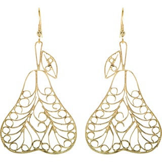 Handmade Goldtone Pear Earrings (India)