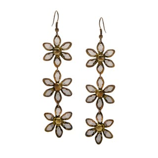 Handmade Goldtone Dangling Flower Earrings (India)