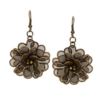 Handmade Floral Goldtone 3D Earrings (India)