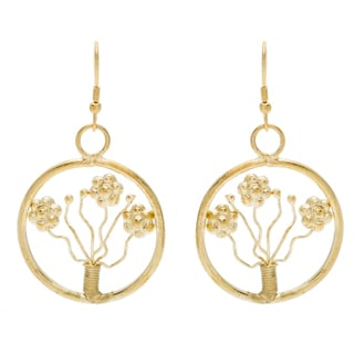Handmade Goldtone Flower Earrings (India)