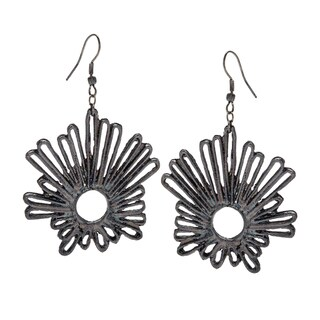 Black Abstract Sunburst Earrings (India)