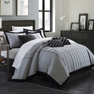 Link to Chic Home Oversized and Overfilled Reynold Pin-tuck Color Block 8-piece Comforter Set Similar Items in Bedroom Furniture
