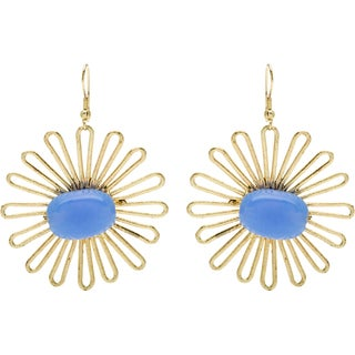 Goldtone Flower Earrings with Periwinkle Bead (India)