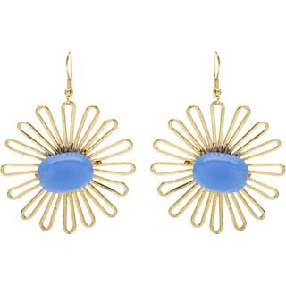 Handmade Goldtone Flower Earrings with Periwinkle Bead (India)