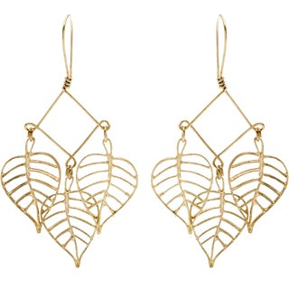 Goldtone Three Falling Leaves Earrings (India)