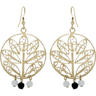 Handmade Goldtone Tree Motif Earrings with 3 Beads (India)