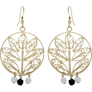 Handmade Goldtone Tree Motif Earrings with 3 Beads (India)