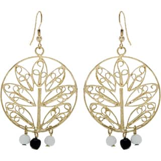 Handmade Goldtone Tree Motif Earrings with 3 Beads (India)|https://ak1.ostkcdn.com/images/products/10241042/P17360729.jpg?impolicy=medium