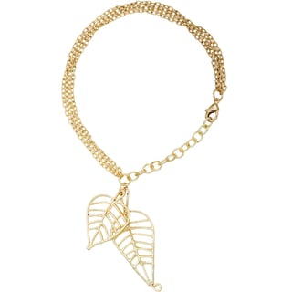 Handmade Goldtone Brass Long Chain Necklace with Leaf Charms (India)