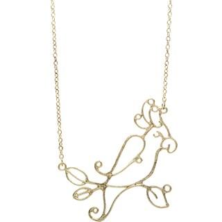 Handmade Goldtone Long Parakeet Necklace (India)