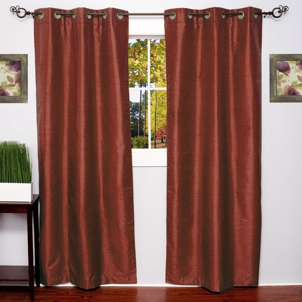 Faux Silk Blackout Grommet 84 Inch Curtain Panel Pair 76 X 84 Free Shipping Today
