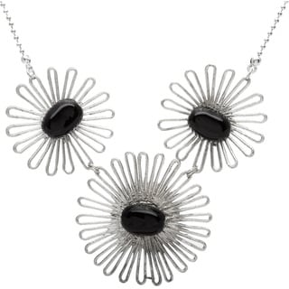 Silvertone 3 Flower Bib Necklace (India)
