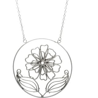 Silvertone Long Necklace with Round Flower (India)
