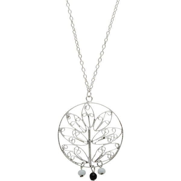 Handmade Silvertone Long Necklace with Plant Design (India)