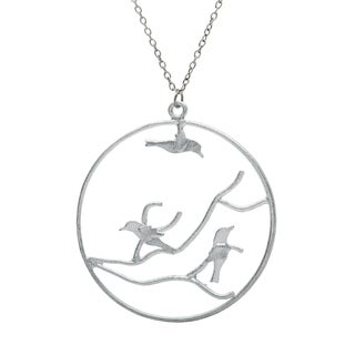 Silvertone Long Necklace with Birds in Tree (India)