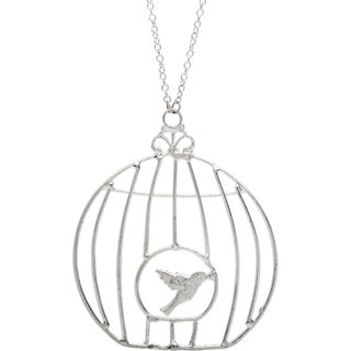 Silvertone Birdcage Long Necklace (India)