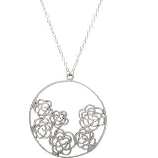 Silvertone Long Necklace with Roses (India)