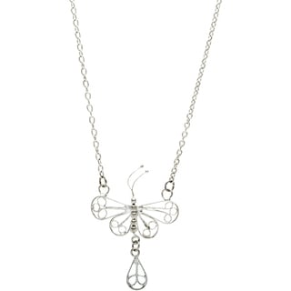 Tiny Dragonfly Silvertone Long Necklace (India)