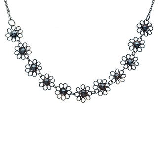 Handmade Black Small Flower Necklace (India)