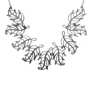 Handmade Black Metal Leaves Necklace (India)