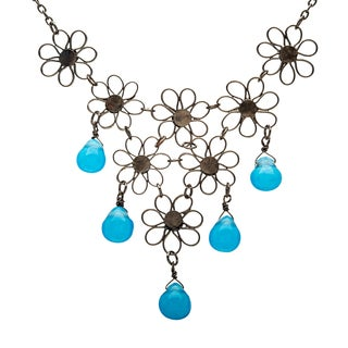 Handmade Blue and Black Small Flower Bib Necklace (India)