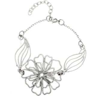 Silvertone Bracelet with Large Flower (India)
