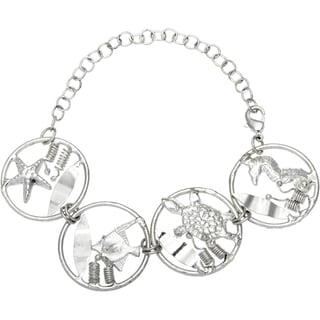 Handmade Silvertone Sea Life Bracelet (India)