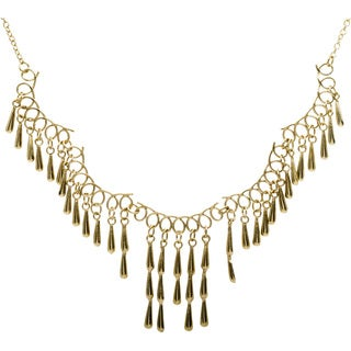 Handmade Goldtone Teardrop Fringe Necklace (India)