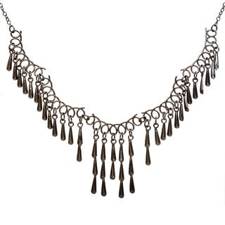 Black Teardrop Fringe Necklace (India)