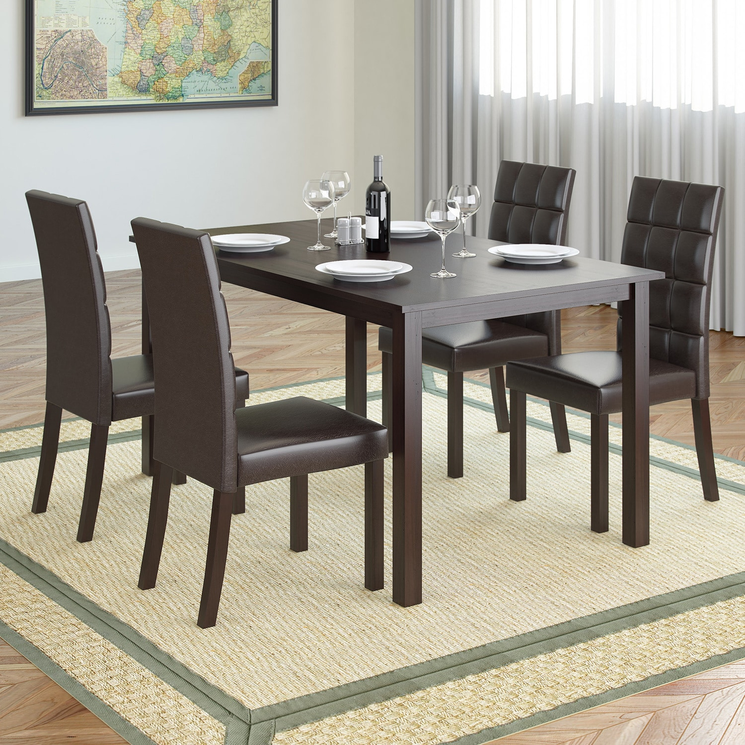 CorLiving DRG-795-Z4 Atwood 5-piece Dining Set with Dark ...