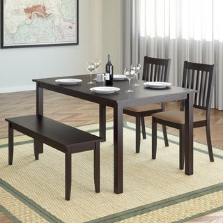 CorLiving DRG-795-Z2 Atwood 4-piece Dining Set with Cappuccino Stained Bench and Set of Chairs