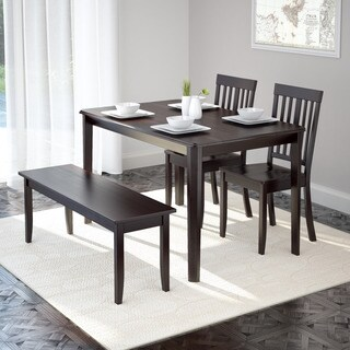 CorLiving DRG-695-Z6 Atwood 4-piece Dining Set with Cappuccino Stained Dining Bench and Set of Chairs