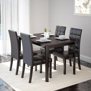 CorLiving DRG-695-Z4 Atwood 5-piece Dining Set with Dark Brown Leatherette Seats