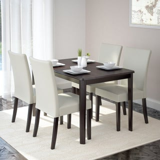 CorLiving DRG-695-Z3 Atwood 5-piece Dining Set with Cream Leatherette Seats