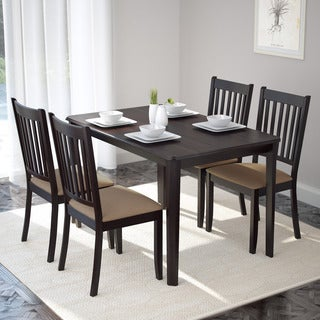 CorLiving DRG-695-Z2 Atwood 5-piece Dining Set with Beige Microfiber Chairs