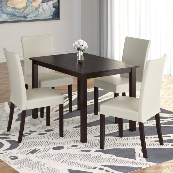 Cream Dining Set: Shop Atwood 5pc Dining Set With Cream Leatherette Seats