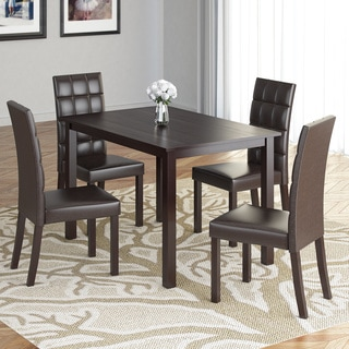 CorLiving DRG-595-Z2 Atwood 5-piece Dining Set with Dark Brown Leatherette Seats