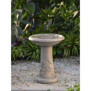 Floral Accent Classical Garden Birdbath