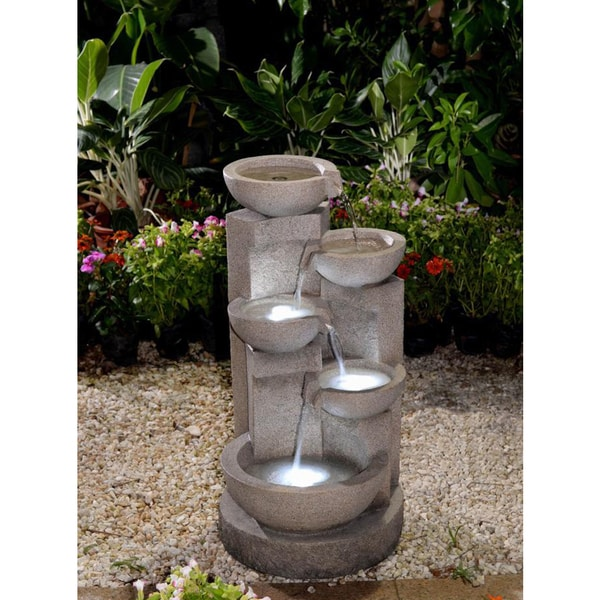 Shop 5 Tier Bowls Water Fountain With Led Light Free