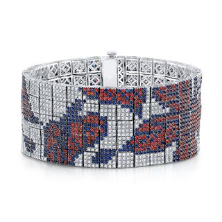 Estie G 18k White Gold 9 1/4ct TDW Diamond Orange and Blue Sapphire Butterfly Bracelet (H-I, VS1-VS2)