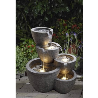 Muiti Pots Fountain with 4 LED Lights
