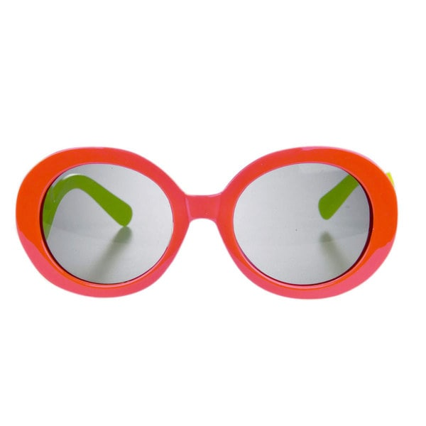 Crummy Bunny Little Girls' Coral/ Green Swirl Round Frame UV400 Sunglasses