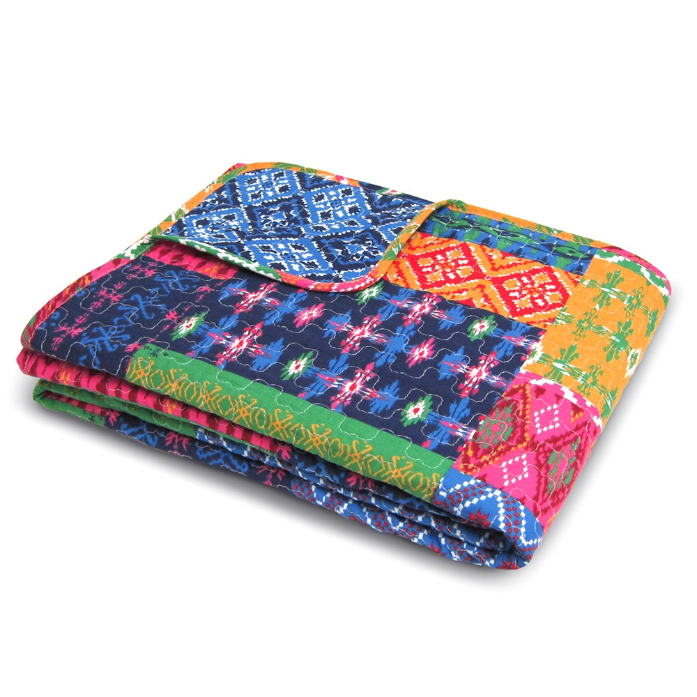 Lush Decor Misha Fuchsia/ Navy Throw Blanket