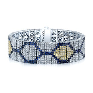 Estie G One-of-a-Kind 18k White Gold 8ct TDW Diamond Yellow and Blue Sapphire Hex Bracelet (I-J, VS1-VS2)