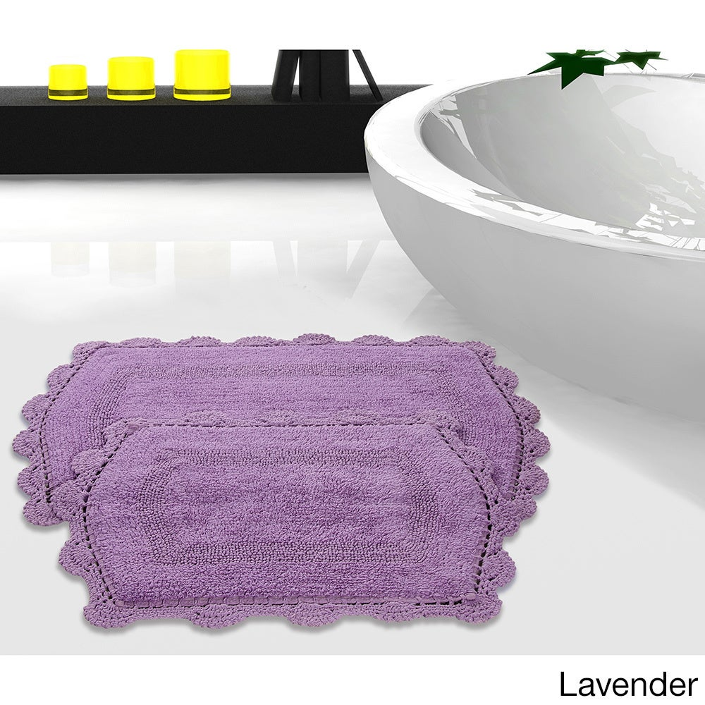 Reversible Bath Rug With Crochet Lace