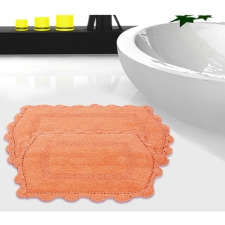 100 Percent Cotton Reversible Bath Rug With Crochet Lace (Set Of 2)