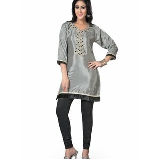 Handmade Grey designer Kurti / Tunic with beaded neckline (India)