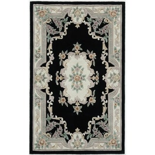 Hand-tufted Floral Black Accent Rug (2' x 4')