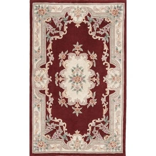 Hand-tufted Floral Burgundy Accent Rug (2' x 4')