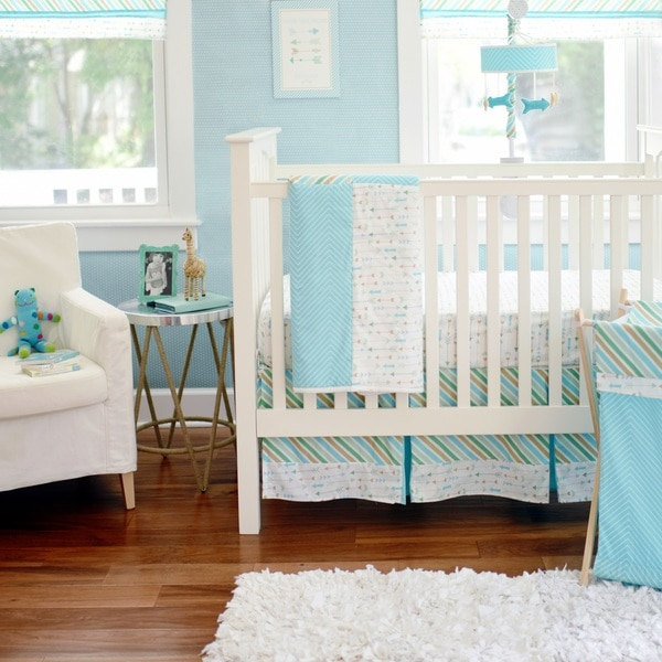 My Baby Sam Follow Your Arrow Aqua 3-piece Crib Bedding set